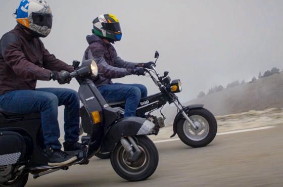 Piaggio Vespa et Yamaha Bop à l'assaut du Mont-Ventoux